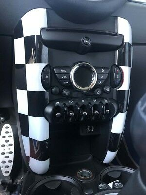 Centre Console Side Piece Checkered Flag for Mini Cooper R55 clubman R56 R57
