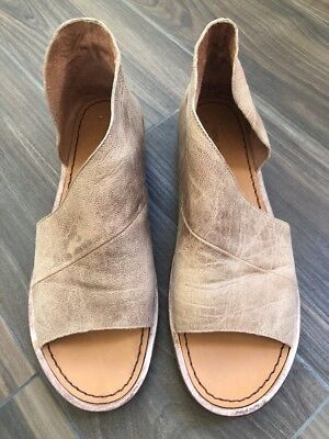 Free People Mont Blanc Natural Brown Leather Shoes Sandals 38 1/2/8.5 US
