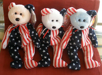 MINT TY Beanie Baby Spangle the Patriotic Bear Set - Red, White, & Blue Faces