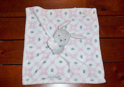 Blankets and & Beyond Pink Grey White Bunny Baby Blanket Security Lovey