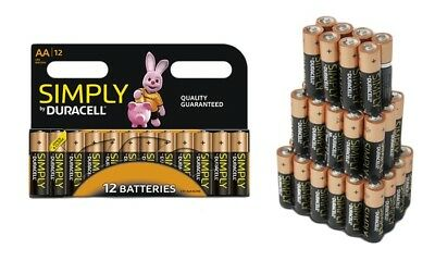 36 x Duracell Simply AAA 1.5v Batteries Pack Alkaline LR03 MN2400 Lasting Power