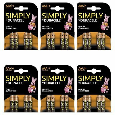 24 x Duracell Simply AAA 1.5v Batteries Pack Alkaline LR03 MN2400 Lasting Power