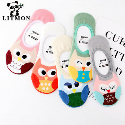 5Pairs Cute Animal Socks Women Cotton Thin Print Cartoon Boat Socks Low Cut S...