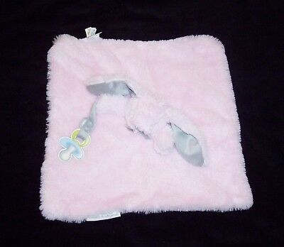 Blankets & and Beyond Pink Bunny Baby Blanket Grey Ears Fluffy Pacifier Holder