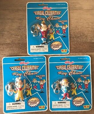3 Kellogg's Cereal Celebrities Keychain Snap Crackle and Pop 1998 Brand New