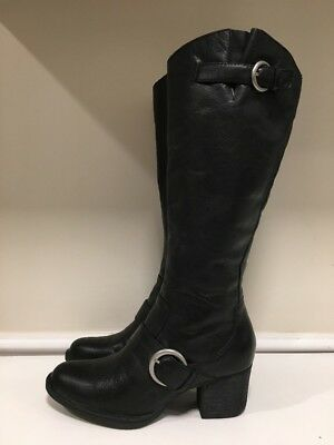 Born Shaylee Black Leather Side Zip Knee High Tall Riding Boots Women's Size 7.5