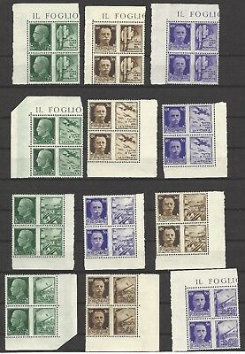 ITALY  #'s 427-438,  MNH  AXIS VICTORY MILITARY, HONOR THE ARMY  Blocks of Four