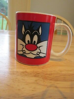 "Sylvester Coffee Mug 1991 Warner Brothers ""Sufferin' Succotash"" Red Cup Tea"