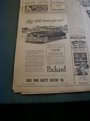 RARE 1949 packard newspaper ad local car dealer business ad