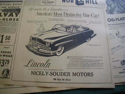 RARE 1949 Lincoln convertible newspaper ad local car dealer business ad
