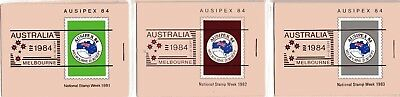 Australia 1984 Ausipex Booklets Right Staple set of 3 Mint Unhinged
