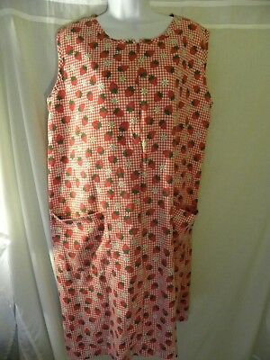 Women's Large XL Nightgown Patio Dress Muumuu Red Gingham Strawberries Vintage