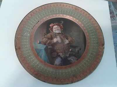 Beautiful late 1880's Tin Litho German Hunter with Sword & Stein  Beer Tray !