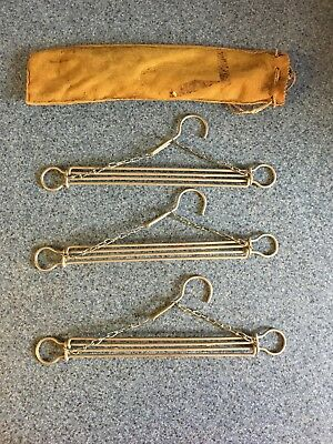 Antique travel hangers with suede bag made in Germany