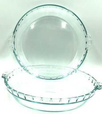 "PYREX Fluted Edge #229 Two Clear Glass 9.5"" Dish Pie Plate Handles vintage#40683"