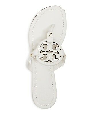 ffb86171401 NIB Tory Burch Miller Leather Logo Flat Slide Sandal Thong Bleach White