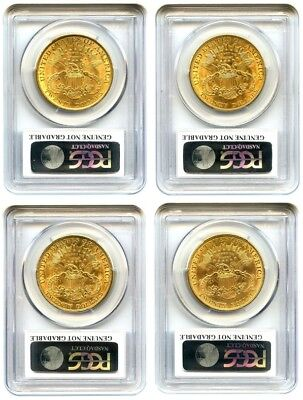 Lot 1904 $20 Lib Gold PCGS UNC Details, Cleaning (8 Coins)