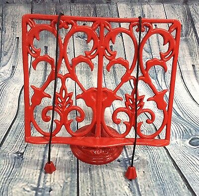 Vintage RED Enameled Cast Iron Cookbook Book Bible Display Stand w/ weights