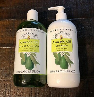 Crabtree and Evelyn Avocado Oil Bath and Shower Gel and Body Lotion 16.9 oz DUO