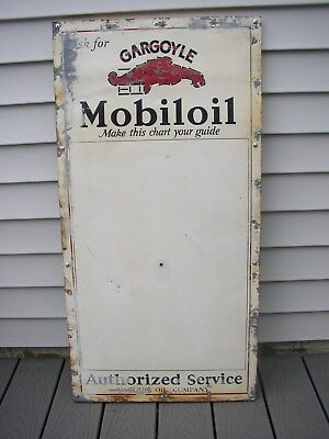 1920s-1930s Original Gargoyle MOBILOIL Chart Guide Authorized Service Tin SIGN