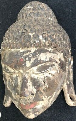 Antique Old Buddha Mask Wall Art Hand Carved Wood Paint Chinese Or Indian