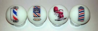 "Set of 4 Charming Barber Shop 1"" Glass Marble With Stands"