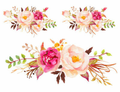Handpainted Shabby Pastel Watercolor Roses Swag Bouquet Waterslide Decals FL525
