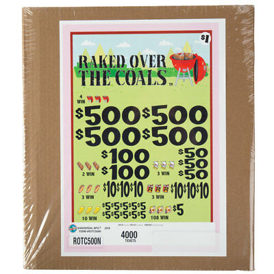 """""""Rake Over The Coals"""" 5 Window Pull Tab Tickets - 4000 Tickets Payout: $3000"""