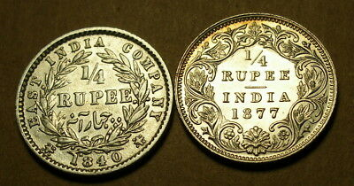 India 1840 and 1877 1/4 Rupee
