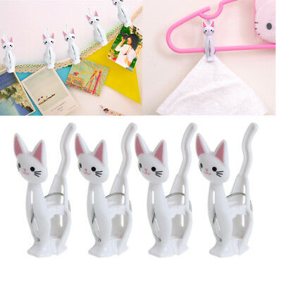 4Pcs Creative Plastic Cat Cartoon Clothing Clip Strong Clothes-pin Shape Pegs