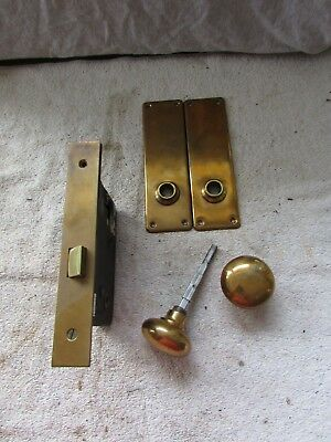 VTG Brass Door Lock Set Mortise Back Plates Knobs Sargent Passage Commercial