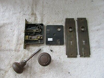 VTG Steel Door Lock Set Mortise Back Plates Knobs Art Deco Bullseye Corbin Yale?