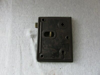 VTG Antique Cast Iron & Brass Early Rim Lock Door Lock 1800s