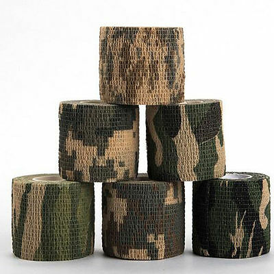 5cm x 4.5m  Camo Stealth Tape Wrap Camping Hunting Camouflage Elastic Bandage