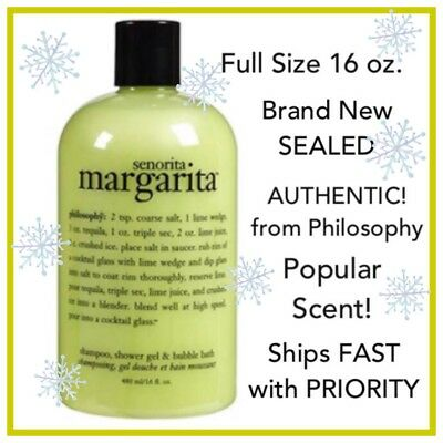 16 Oz Bottle Philosophy Senorita Margarita 3-in-1 Shampoo Shower Gel Bubble Bath