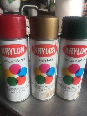 3 1991 Vintage Krylon 2101 Cherry Red 2001 Hunter Green 1701 Metallic Gold Cans