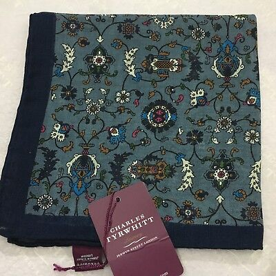 Mens Pocket Square CHARLES TYRWHITT Hand Made Italy Silk Wool BLUE WHITE Floral