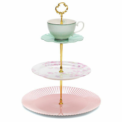 NEW Eclectic 3 Tier Cake Stand Salt & Pepper Serving Pieces