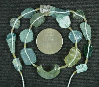 Ancient Roman Glass Beads 1 Medium Strand Aqua And Green 100 -200 Bc 893