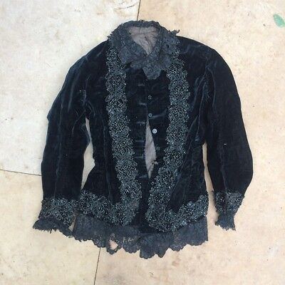 Antique (circa 1880) Black Victorian Beaded Bodice- Fits Unisex Small Adult Teen