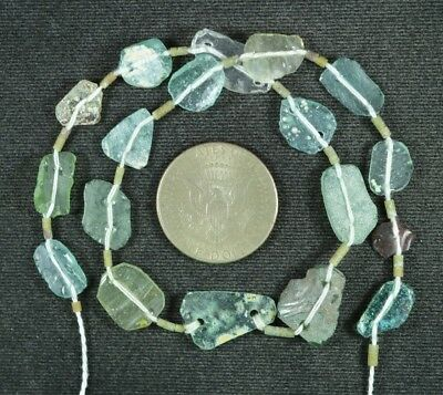 Ancient Roman Glass Beads 1 Medium Strand Aqua And Green 100 -200 Bc 895