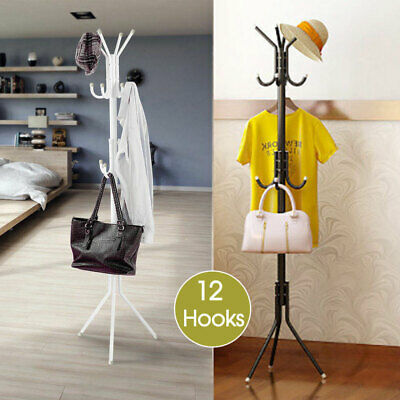12 Hook 3-Tier Hat Coat Clothes Rack Tree Style Steel Hanger Umbrella Stand