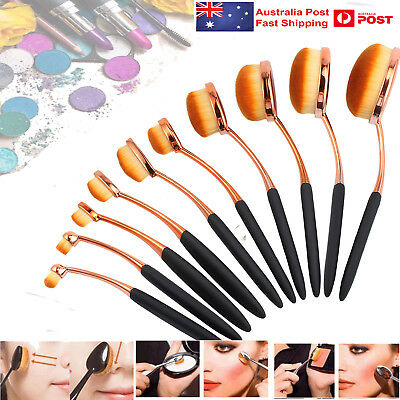 10 Pcs Toothbrush Shaped Oval Cosmetic Cream Puff Makeup Brushes Set Kit Beauty
