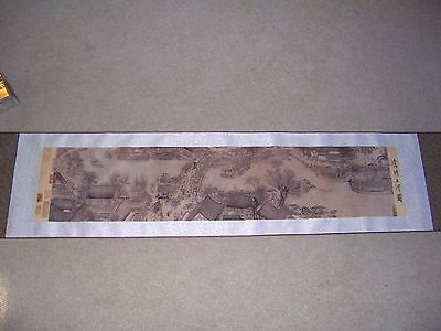 Asian Wall Hanging Scroll of Village in Box