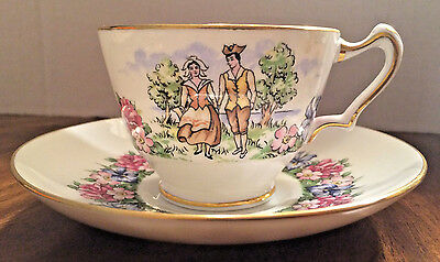 Crown Staffordshire Tea Cup and Saucer Evangeline's Arcadian Gardens
