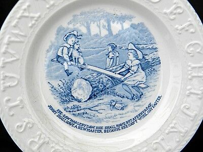 No Reserve ABC PLATE Children SeeSaw STAFFORDSHIRE Antique English China Pottery