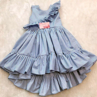toddler kids baby girls cotton party ruffle stripes dress sundress clothes