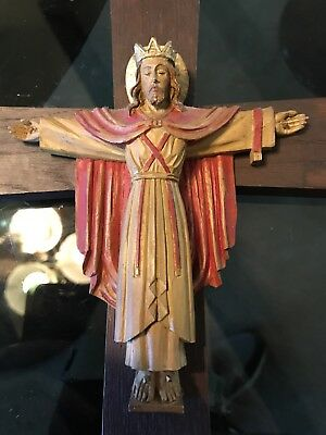 Antique Hand Carved Wood Crucifix Cross Jesus Christ Statue Santos