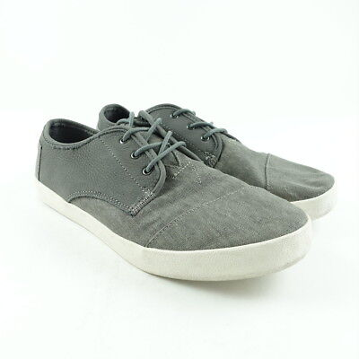 0d1c3a8ba16 TOMS Shoes Size 11 Mens Paseo Sneaker Lace-Up Low Top Leather Washed Canvas  Gray
