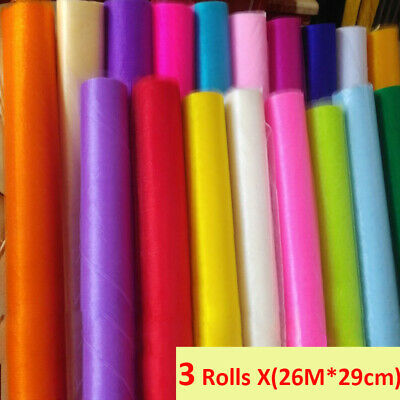 3 Rolls 26M X 29cm Organza Roll Sheer Fabric Wedding Chair Sash Bow Table Runner